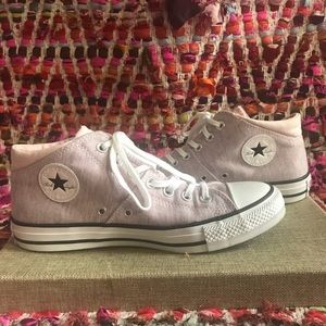 Pink and Gray Padded High Top Converse